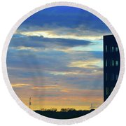 Before Sunset Color  Round Beach Towel