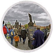 Before The Rain On The Charles Bridge Round Beach Towel