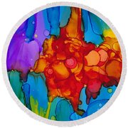 Beginnings Abstract Round Beach Towel by Nikki Marie Smith