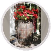 Begonias In The Barrel Round Beach Towel