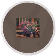 Begonias On Deck Round Beach Towel