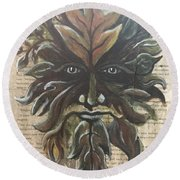 Beguiling Green Man Round Beach Towel