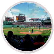 Behind Home Plate At Fenway Round Beach Towel