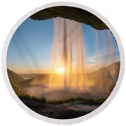Behind Seljalandsfoss Sunset  Round Beach Towel