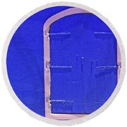 Behind The Blue Door Round Beach Towel