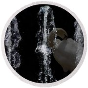 Behind The Fountain Round Beach Towel