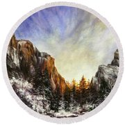 Behind The Mountains  Round Beach Towel