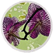 Behind The Orchids Round Beach Towel