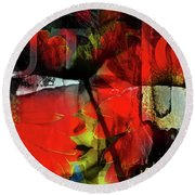 Behind The Poppies Round Beach Towel