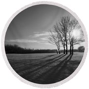 Behind The Trees Round Beach Towel