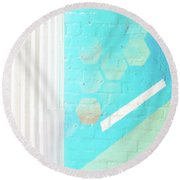 Beige And Turquoise Candy Stripes Round Beach Towel