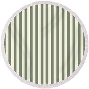 Beige White Striped Pattern Design Round Beach Towel