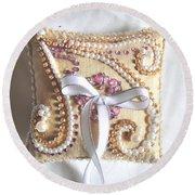 Beige-white Wedding Ring Pillow Round Beach Towel