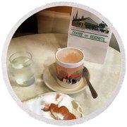 Beignet And Coffee At Cafe Du Monde Round Beach Towel