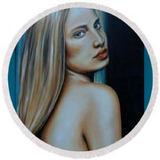 Being Emma, Nude Portrait Art Round Beach Towel