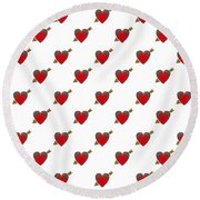 Bejewelled Heart Half Drop Round Beach Towel