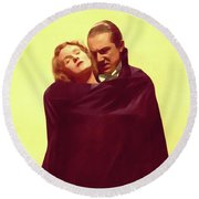 Bela Lugosi And Helen Chandler, Dracula Round Beach Towel