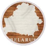 Belarus Rustic Map On Wood Round Beach Towel