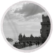 Belem And The Boat Round Beach Towel