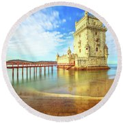 Belem Tower Reflects Round Beach Towel