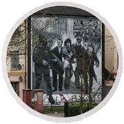 Belfast Mural - Civil Rights Association - Ireland Round Beach Towel