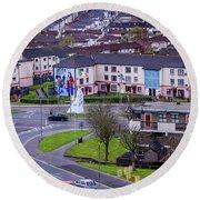 Belfast Mural - Derry Neighborhood - Ireland Round Beach Towel