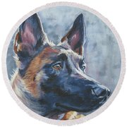 Belgian Malinois In Winter Round Beach Towel