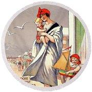 Belgium Ostende Vintage Travel Poster Restored Round Beach Towel