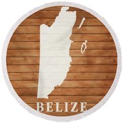 Belize Rustic Map On Wood Round Beach Towel