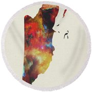 Belize Watercolor Map Round Beach Towel