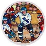 Bell Center Hockey Art Goalie Carey Price Makes A Save Original 6 Teams Habs Vs Leafs Carole Spandau Round Beach Towel