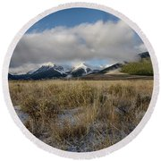 Bell Mountain Mists Round Beach Towel