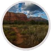Courthouse Butte Sedona Arizona Round Beach Towel