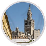 Bell Tower - Cathedral Of Seville - Seville Spain Round Beach Towel
