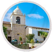 Bell Tower  In Carmel Mission-california  Round Beach Towel