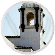Bell Tower In Santa Cruz Round Beach Towel