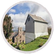 Bell Tower St Mylor Cornwall Round Beach Towel