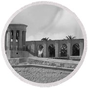 Bell Towers Of Malta Round Beach Towel