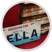 Bella License Plate Round Beach Towel