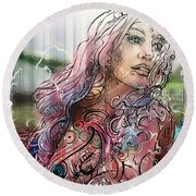 Bella Remixed II Round Beach Towel