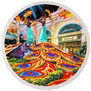 Bellagio Conservatory Fall Peacock Display Side View Wide 2 To 1 Ratio Round Beach Towel