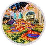 Bellagio Conservatory Fall Peacock Display Side View Wide 2017 Round Beach Towel