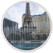 Bellagio Fountain 1 Round Beach Towel