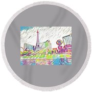 Bellagio Fountains Round Beach Towel
