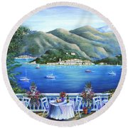 Bellagio From The Cafe Round Beach Towel