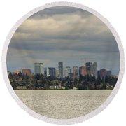 Bellevue Skyline Along Lake Washington Round Beach Towel