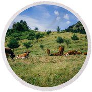 Bells And Cows Round Beach Towel