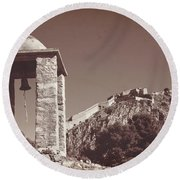 Belltower And Fortress Of Palamidi, Nafplio, Greece. Sepia. Round Beach Towel