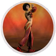 Belly Dancer Round Beach Towel