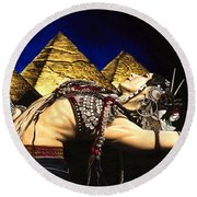 Bellydance Of The Pyramids - Rachel Brice Round Beach Towel